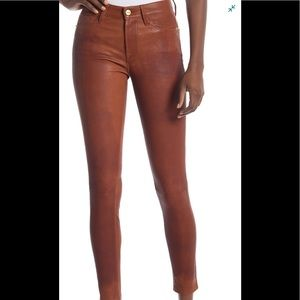 Frame Leather Le High Skinny in Cognac sz 27 NWT